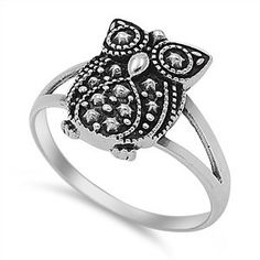 Stunning hand-crafted .925 Sterling Silver Owl Ring. Intricately designed Sterling Silver creates a very unique and elegant look! Available in size 4-10. Embellish your beautiful finger with this piece! FREE SHIPPING!