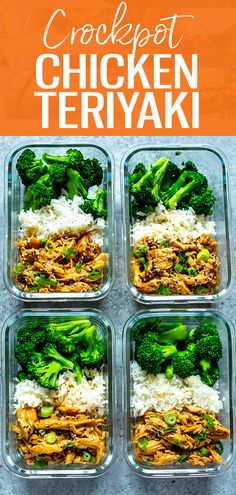This Crock Pot Chicken Teriyaki is made with just FIVE ingredients and cooks on low all day in the slow cooker so it's perfect for hands-off meal prep! teriyaki crockpot Crock Pot Chicken Teriyaki - The Girl on Bloor Lunch Meal Prep, Easy Meal Prep, Healthy Meal Prep, Healthy Foods, Chicken Meal Prep, Chicken Recipes, Low Calorie Chicken Meals, Low Calorie Crockpot Meals, Low Calorie Meal Prep Lunches