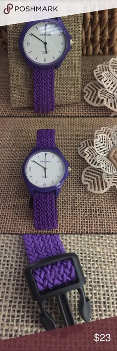 Purple Sporty Watch Crazy cute watch, perfect for spring and summer. The band is elastic and adjustable, the face is bright white in a purple case. New with tags. A24 Jewelry