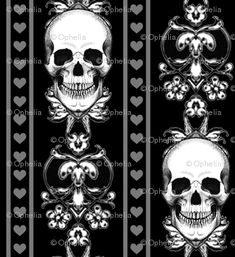 baroque skull stripe gothic black Spoonflower