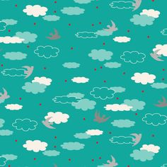 This is one of my personal favorites. I have it in this colour and in Pink/Red. It is designed by Khristian A. Howell and is part of her Woodlands Collection. It has white and blue clouds on a turqouise background. There are grey birds and red polk. Sewing Projects For Kids, Craft Projects, Craft Ideas, Cloud Fabric, Cloud Illustration, Blue Clouds, Couture, Fat Quarters, Textures Patterns