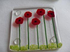 Poppy Fused glass coaster set by sherrylee16 on Etsy, $50.00