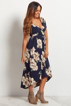 Navy Blue Floral Hi-Low Midi Dress