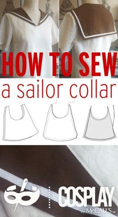 How to sew a sailor collar to Sailor Moon/ Japanese schoolgirl cosplays Sailor Moon Costume, Sailor Moon Cosplay, Sewing Hacks, Sewing Tutorials, Sewing Patterns, Sewing Tips, Bags Sewing, L Cosplay, Anime Cosplay Costumes