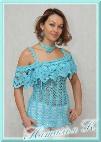 CARAMELO DE CROCHET: blusa azul con voladito