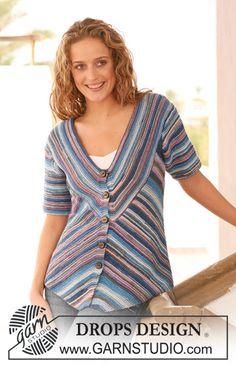 """DROPS 112-12 - DROPS jacket in garter st in """"Muskat Soft"""". Size S - XXXL. - Free pattern by DROPS Design"""