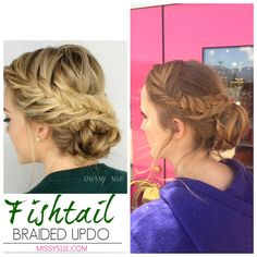 Prom hairstyle. Updo. Fishtail braid