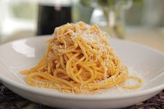 Fabio's Fifteen-Minute Pasta: Spaghetti Romesco.  Maybe one more tomato next time. Awesome stuff. ^Shell