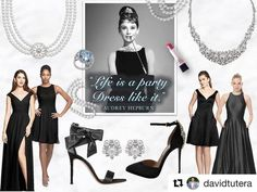 """Life is a Party, Dress Like It."" ~ Audrey Hepburn #repost @davidtutera Dress @gatherandgown Jewelry @davidtuteraembellish Shoes @davidtuterafootwear"