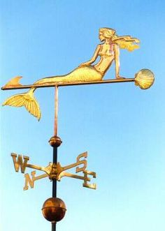 Mermaid with Clamshell Weather Vane by West Coast Weather Vanes.    A mermaid is a legendary aquatic creature with the head and torso of a human female and the tail of a fish.