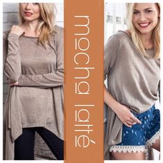 "OVERSIZED HIGH LOW TOP Looks great with anything! Comfortable, stylish and versatile. Gauze like fabric, semi sheer. Polyester, cotton, spandex blend. XL: bust 47"" MOCHA tla2 Tops"