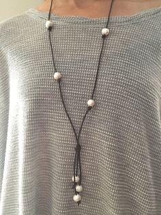 Leather and Pearl Necklace by OmOkayJewelry on Etsy