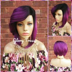 Purple Bob Wig, Wig,  Ombre Purple Bob Wig, Wigs, Glory Tress, Straight Wig, READY To SHIP // SAVED Side Swoop Bangs, Purple Bob, Straight Lace Front Wigs, Natural Looks, Wig Hairstyles, Ship, Ships, Natural Makeup Looks, Cut Bangs
