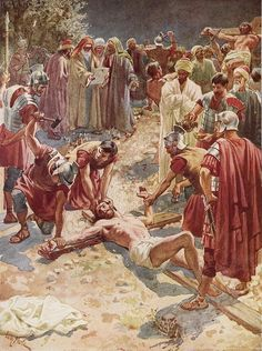 Christianity Art - Jesus being crucified by William Brassey Hole Religious Pictures, Bible Pictures, Jesus Pictures, Religious Art, Jesus Christ Painting, Jesus Art, Religion, Crucifixion Of Jesus, Saint Esprit