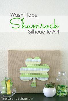 Washi Tape Shamrock Silhouette Art  #shamrock, #st.patricksday  www.thecraftedsparrow.com