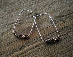 Sterling Silver & Copper Wrap Rectangle #Earrings ($22.86)