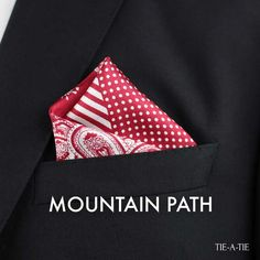 """New way to wear your pocket square with the """"Mountain Path"""" fold. Courtesy of Tie-a-Tie.net"""