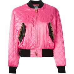 Moschino Quilted Bomber Jacket (1 615 AUD) ❤ liked on Polyvore featuring outerwear, jackets, zip front jacket, quilted bomber jacket, pink quilted jacket, moschino and long sleeve jacket
