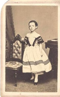 Civil War Era Young Girl in Striped Dress Posing w Ornamental Chair NY NY | eBay