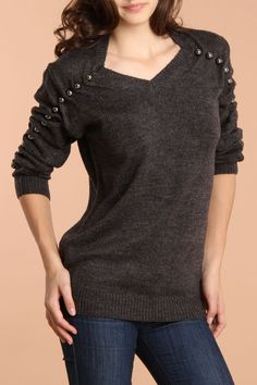 Dex 3/4 Sleeve V-Neck Ball Sweater In Light Charcoal Mix - Beyond the Rack  http://www.beyondtherack.com/event/sku/29108/DEX217153DLCM?filter[size]===1#