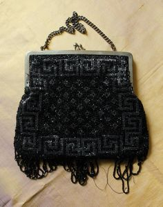 French 1920s black & silver beaded fringed flapper bag with chain handle by FrenchVintageLife on Etsy