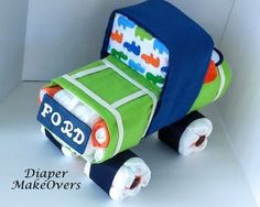 Baby Boy Diaper Cake Truck Diaper Cake Unique by DiaperMakeOvers