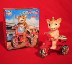 MIB VINTAGE BUSKA ON TRICYCLE WIND UP TIN TOY BULLMARK JAPAN WORKING
