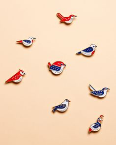 Lovely pins by Fuzzco of eight state birds.