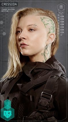 Natalie Dormer as Cressida in the Hunger Games. Look at the hair! With the braid and the vine. So cool.