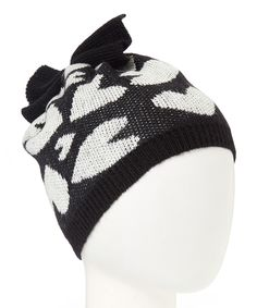 Look what I found on #zulily! Betsey Johnson Black Artsy Hearts Bow Beanie Hat by Betsey Johnson #zulilyfinds