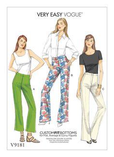 V9181 | Misses' Custom-Fit Bootcut Pants Sewing Pattern | Vogue Patterns