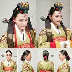 """Traditional Hairstyles for Modern Beauties * Modern Interpretation: The bride's hair is pulled back into a chignon, and a toque decorated with corals and beads sits on the crown of the head. Worn along with the hairdo is the """"nogwonsam,"""" or green, decorative ceremonial topcoat."""