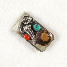 Vintage Navajo Turquoise, Coral & 1895 Indian Head Penny Money Clip. Nickel Silver.
