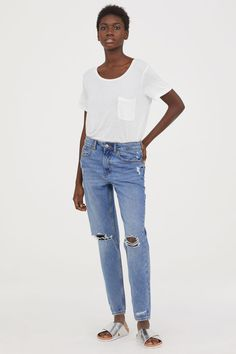 Boyfriend Low Ripped Jeans | Light denim blue | DIVIDED | H&M US