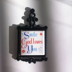 Smile God Loves You Vintage Cast Iron Trivet Wall by Pesserae, $6.00
