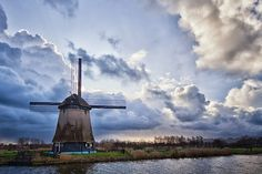A windmill waiting for a stormy sky in Alkmaar,
