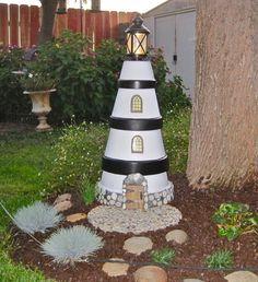 crafts with terra cotta pots   Terra-Cotta pot lighthouse!Ideas, Pots Lighthouse R, Pots Lighthouses ...
