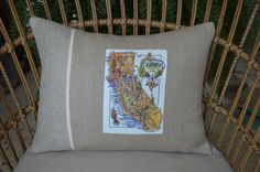 California here we come! Our California postcard pillow is headed for southern California! This is our small version of our two tone pillow made from Belgian linen. Custom Pillows, Vintage Postcards, Southern California, This Is Us, Throw Pillows, Handmade, Cushions, Decorative Pillows, Decor Pillows