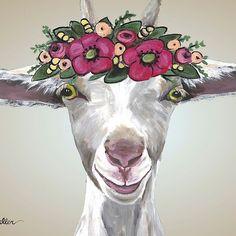 'Goat Art, Farmhouse Goat Flower Crown Art' by leekellerart