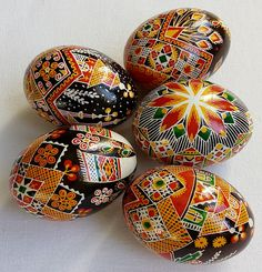 Set of 5 Real Ukrainian handmade Pysanky Easter Egg Ukraine Osterei Pysanka Pisanki egg shell