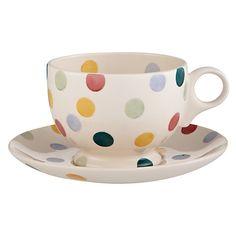 Buy Emma Bridgewater Polka Dot Teacup & Saucer, 0.3L, Multi Online at johnlewis.com