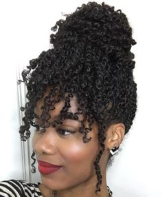 High Bun With Bangs For Curly Twists