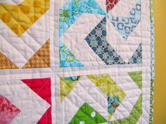 Easy quilt made with 1/2 square blocks