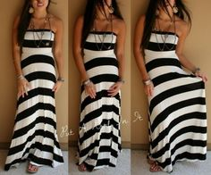 BLACK-WHITE-STRIPED-MESMERIZE-MAXI-TUBE-LONG-DRESS-BOHO-STRAPLESS-S-M-L-XL