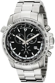Swiss Legend Men's 10013-11 World Timer Collection Chronograph Stainless Steel Watch