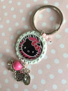 Kawaii Kitty Bottle Cap Fashion Key Chain, Kawaii Resin Bottle Cap, Beaded Keychain, Resin Keychain  on Etsy