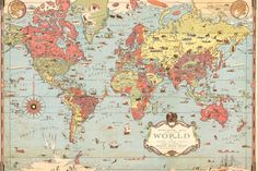 Kids Vintage World Map, custom made to suit your wall size by the UK's No.1 for murals. Custom design service and express delivery available.