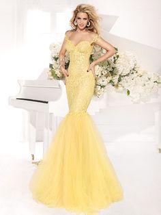 Custom made New Abendkleider Vestido de renda Mermaid Formal Evening Dresses Off Shoulder Hot &Sexy Yellow Lace Prom Dresses $178.00