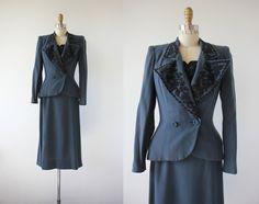 vintage 1940s suit / 40s beaded dress set / by livinvintageshop