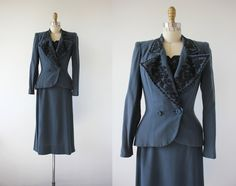 vintage 1940s suit / 40s beaded dress set / by livinvintageshop